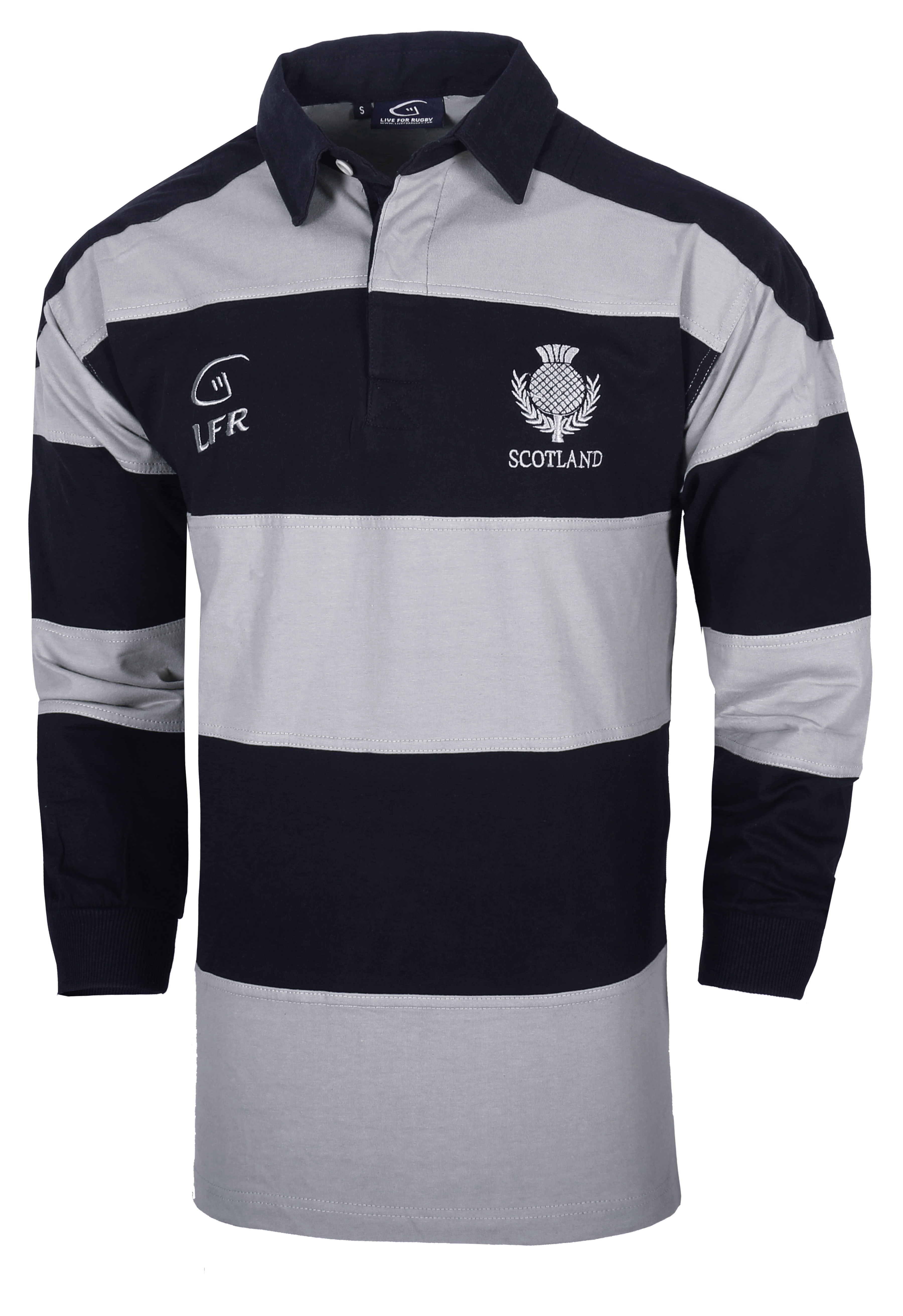Long Sleeve Grey/Navy Striped Rugby Jersey