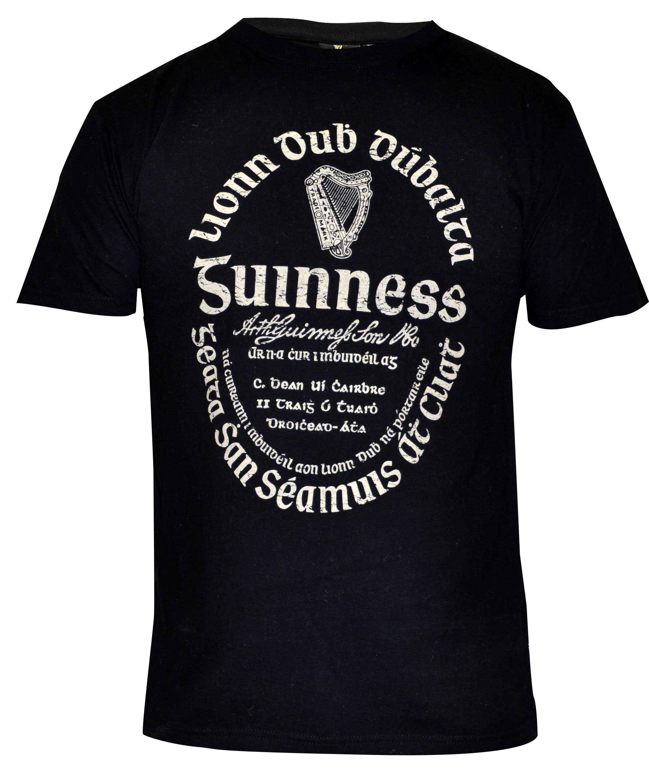 Guinness Black Distressed  Gaelic Label T Shirt