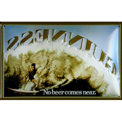 No Beer Comes Near; Surfer Guinness 3D Embossed Metal Pub Sign