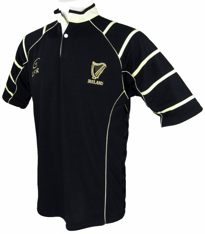 "Black ""Ireland with Harp"" Live for Rugby Jersey(Avail. in XXXL)"