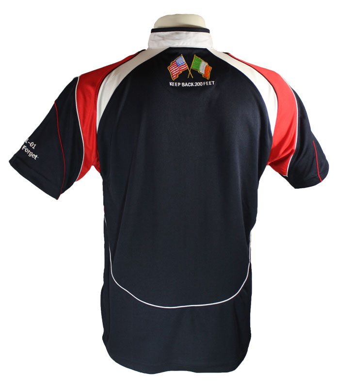 Irish American Firefighter Rugby Jersey (photo of jersey back)