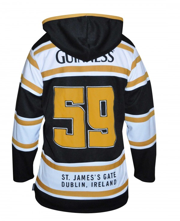 Guinness Black and Gold Hooded Hockey Jersey Image of Back