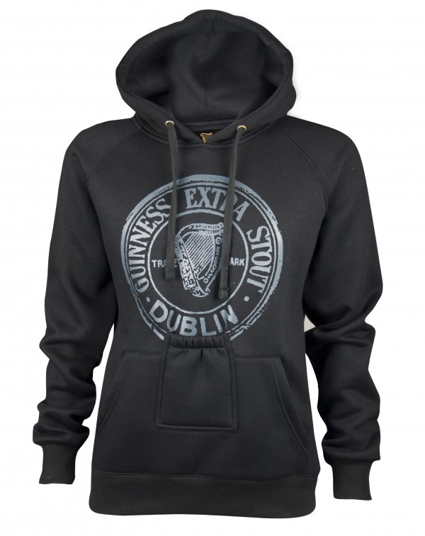 01b8c11fa118c GUINNESS Black Pullover Hoodie with Beer Bottle Pocket