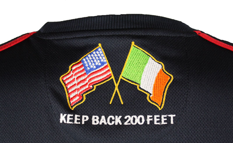 Irish American Firefighter Soccer Jersey Back Logo Photo