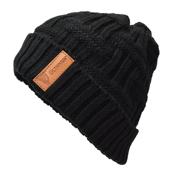 Guinness Black Beanie with Leather Patch