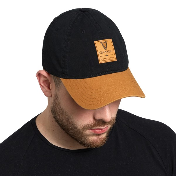 Guinness Black & Carmel Cap with Leather Patch