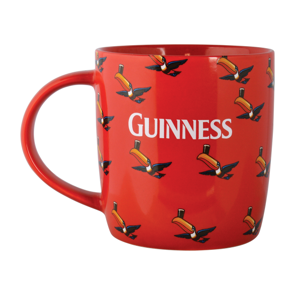 Guinness Red Mug with Multiple Flying Toucans