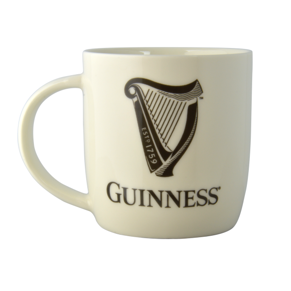 Guinness White Mug with Harp and Official Merchandise Logo