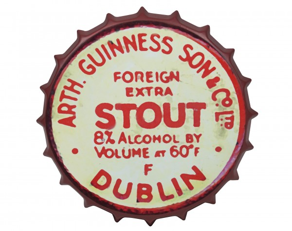 Guinness Red Vintage Metal Bottle Cap Sign