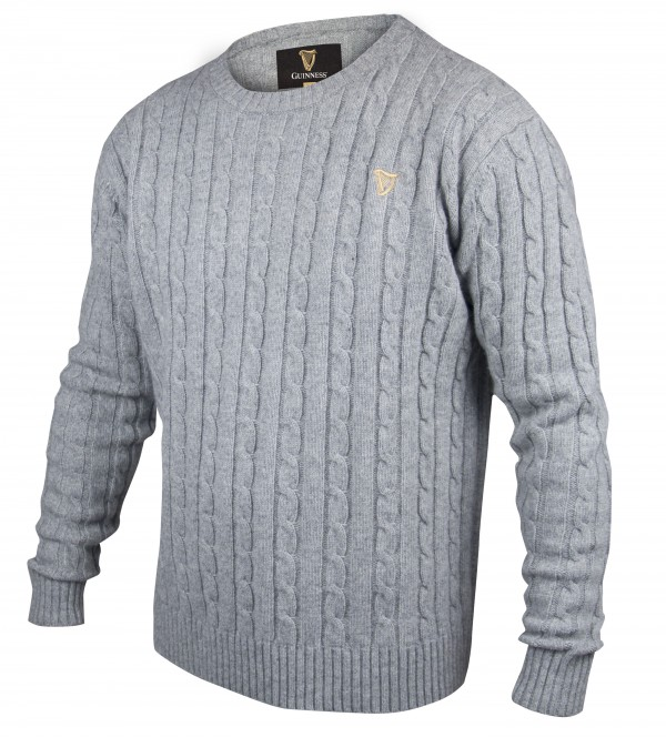 Grey Guinness Cable Knit Sweater