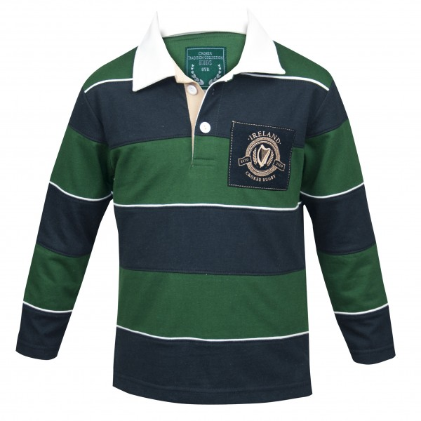 Ireland Kids Green & Navy Striped Rugby Jersey