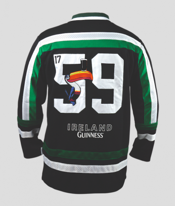 Guinness Toucan Hockey Jersey Black & Green Back of Jersey Phot